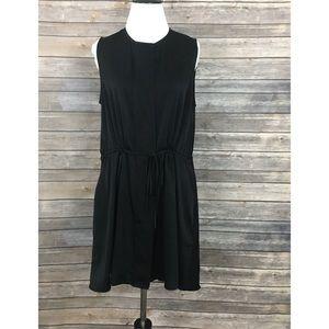 The Row Black Sleeveless Drawstring Waist Dress